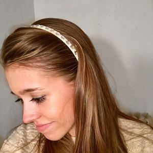 J. Crew Jeweled Cream Thin Headband
